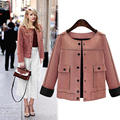 2016 British style Women Short Jacket Fashion Autumn Slim vintage Chamois Leather Suede jacket For Ladies
