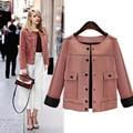 2016 estilo Britânico Mulheres Casaco Curto Da Moda Outono Fino do vintage jaqueta De Camurça De Couro de Camurça Para Senhoras
