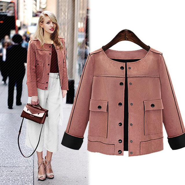 9a98c8903eb 2018 British style Women Short Jacket Fashion Autumn Winter Slim vintage  Chamois Leather Suede jacket For Ladies