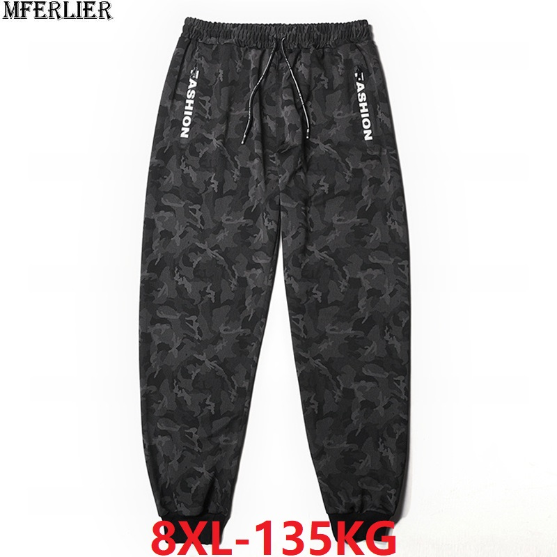 Winter Men Fleece Sweatpants Camouflage Sports Pants Warm Letter Plus Size 6XL 7XL 8XL Autumn Sweatpants Elasticity Stretch 50