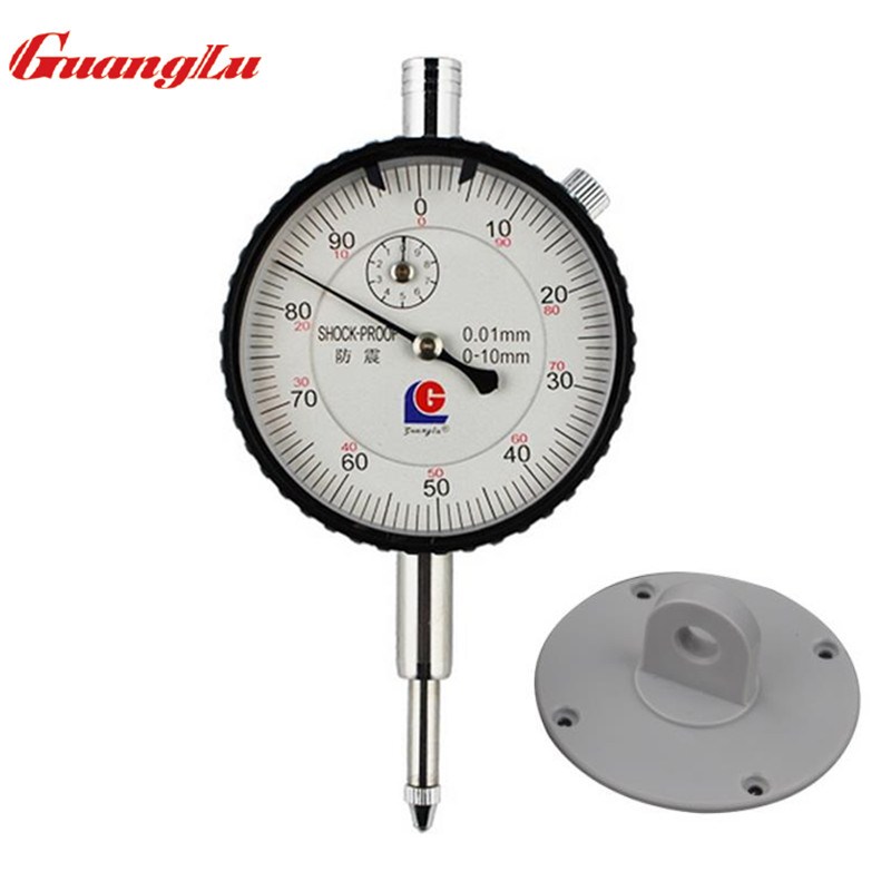 GUANGLU Dial Indicator 0-10/0.01mm Shock-Proof Dial Test Gauge with Lug Back Precision Micrometer Measuring Tools