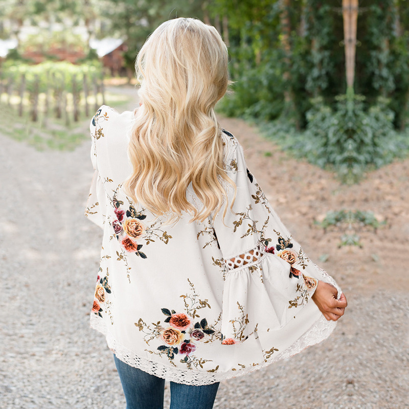 HTB1DyBJv5CYBuNkSnaVq6AMsVXa3 Women Plus Size Loose Casual Basic Jackets Female 2018 Autumn Long Flare Sleeve Floral Print Outwear Coat Open Stitch Clothing