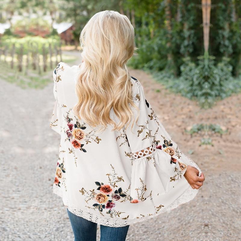 HTB1DyBJv5CYBuNkSnaVq6AMsVXa3 Women Plus Size Loose Casual Basic Jackets Female 2018 Autumn Long Flare Sleeve Floral Print Outwear Coat Open Stitch Clothing
