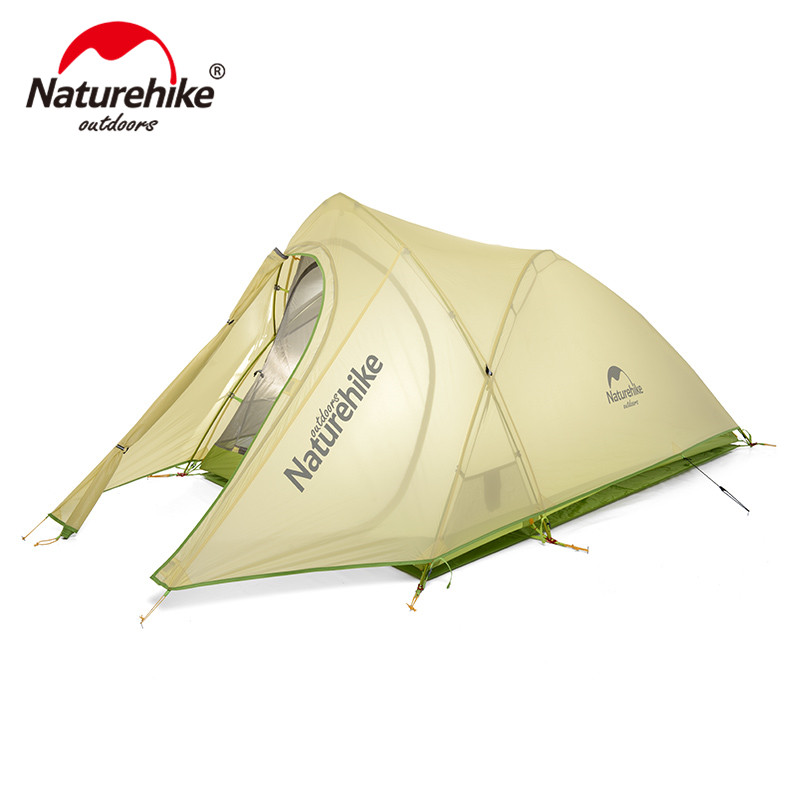 NatureHike Tent Ultralight 2 Person 20D Nylon Farbic with Silicon Coated Waterproof Outdoor Camping Tents with Mat NH17T0071-T hillman 3 4 person double layer ultralight silicon tent 2d silicone coated nylon waterproof aluminum rod outdoor camping tent