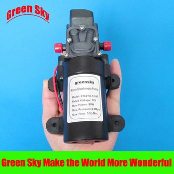 5.5L/Min 8m range 80W 12V diaphragm self-priming water pump dc pump high pressure