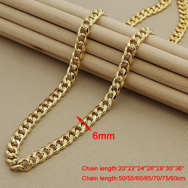 24k Gold Men Cuban Chain Necklaces Hip Hop Jewelry Wholesale Gold Color Long Big Chunky Necklace 20-36 inch