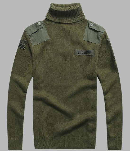 dda8a387d7149a BONJEAN Men s Military Sweater Patch Design Tactical Army Knitted Highneck Sweaters  Autumn Winter Casual Thick Pullover