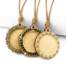 Jiangzimei  24pcs log color wood cabochon trays 25mm dia blank Pendant bezel with Wax Rope for Necklace making jewelry wholesale