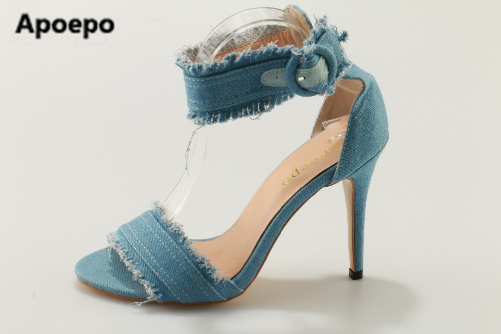 Apoepo brand 2017 New Design Women Fashion Open Toe black Blue Denim High Heel Sandals Ankle Strap Jean Causal Sandals new men jeans blue denim pants straight fashion korean style slim fit casual famous brand design stretchy denim blue big size 38