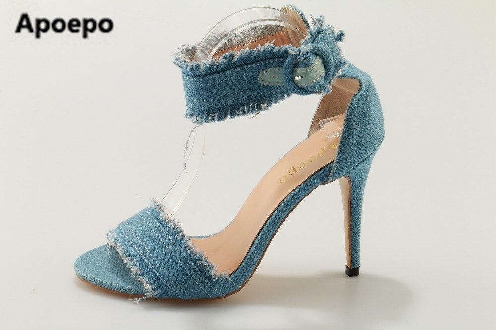 Sales brand 2017 New Design Women Fashion Open Toe black Blue Denim High Heel Sandals Ankle Strap Jean Causal Sandals jean berthier open microfluidics