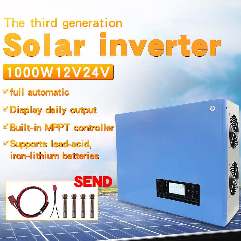New Off Grid Soalr Hybrid Power Frequency Pure Sine Wave Inverter Dc 12v 24v To Ac 220v Build In Mppt Charge Controller 1000w30