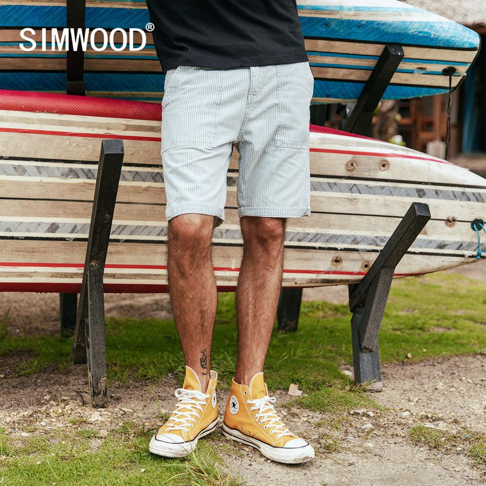 SIMWOOD 2020 Vertical Striped Denim Shorts Men Cargo Causal 100% Cotton High Quality Shorts Brand Clothing 190005