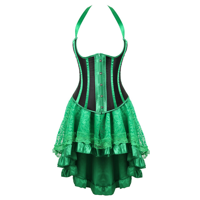 89df46be489 underbust corsets for women lace victorian bustle dress stripe plus size  fashion sexy corselet skirt high and low set green