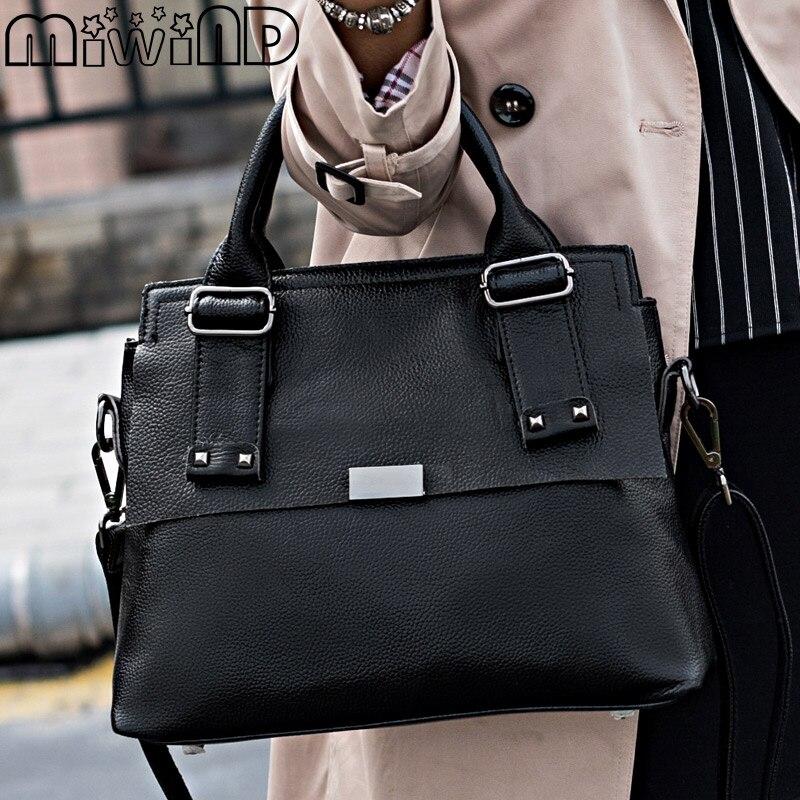 MIWIND 2017 New Brand Women Handbags Fashion Genuine Leather Ladies Shoulder Bag Messenger Saffiano Party Business Versatile