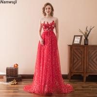 2018 новый халат De Soiree Longue элегантный красный Кружево красное вечернее платье 2018 Длинные Дешевые аппликации шифоновое вечернее платье Vestido de