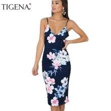 TIGENA Для женщин летнее платье 2018 летний сарафан Sexy Глубокий v-образный вырез спинки туника бохо пляжное платье рубашка синие пикантные роковой