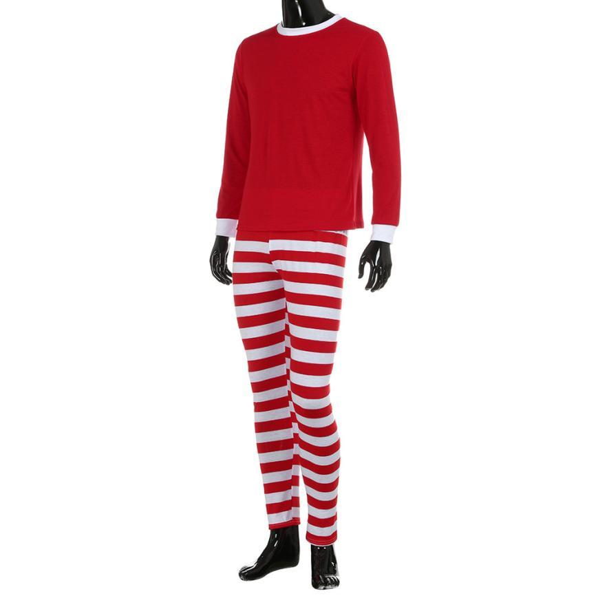 2018 Winter Warm Pajamas Set Man Family Matching Christmas Pajamas Set Blouse +Santa Striped Pants TW