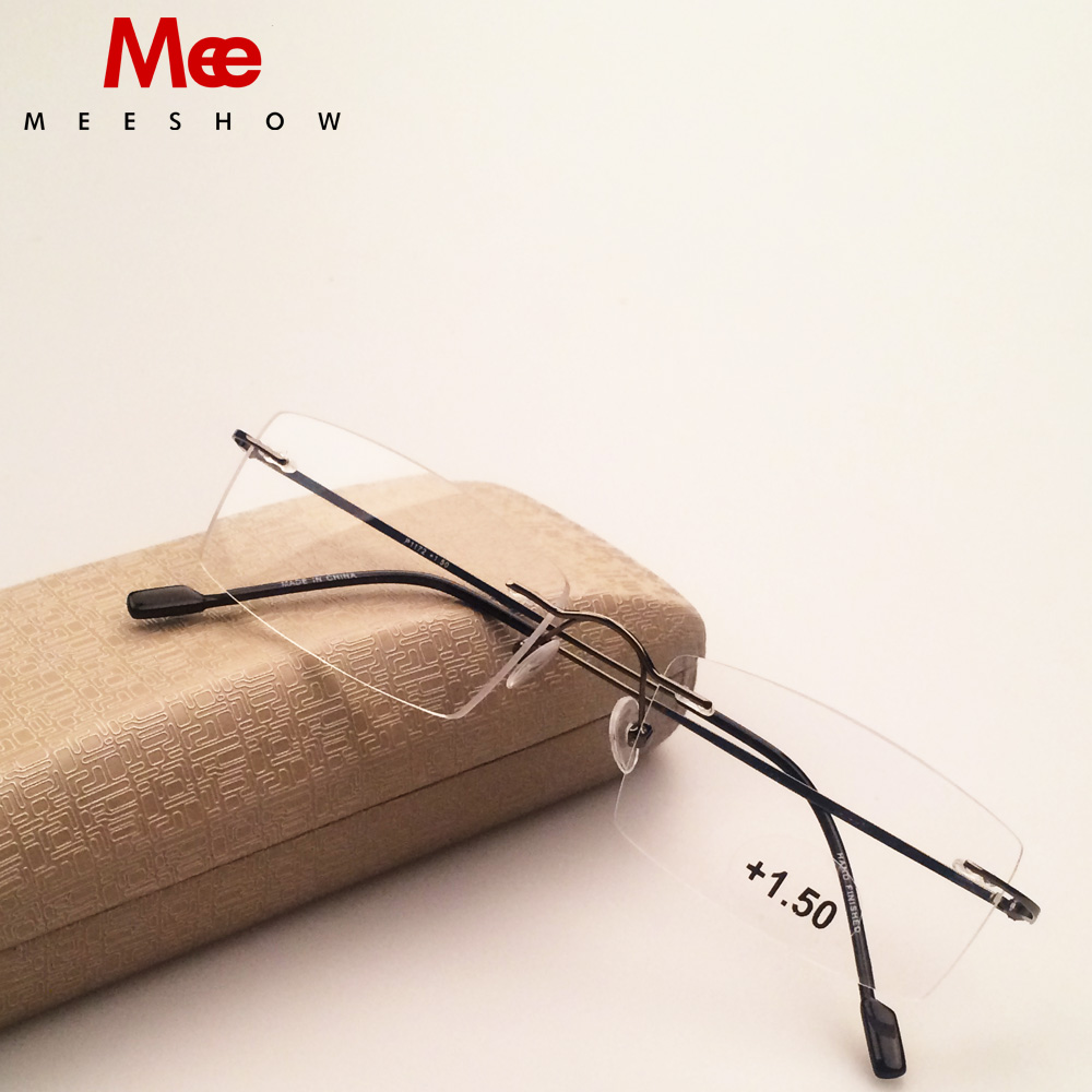 Meeshow Rimless სათვალეები ტიტანის შენადნობის ოპტიკური ჩარჩო კითხვის სათვალეებით მინის მინის მინის ქალთა უჟანგავი ფოლადის R8508