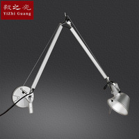 folding led wall lamp, wrought iron manipulator Double section study bedroom the head of a bed bar cafe wall lamp