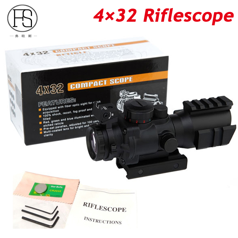 High Quality Tactical 4X32 Rifle Scope Fiber Optics Sight Military Shooting Sniper Scope Red Green Dot Sight For Air Rifle best quality good m3 type red dot hunting scope collimator sight rifle reflex for shooting