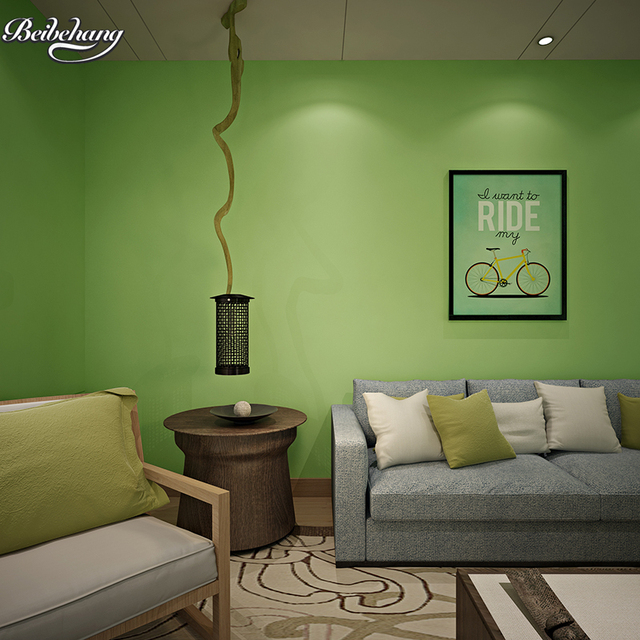 Beibehang Green Theme Wallpaper Pure Plain Long Fiber Non Woven Living Room Bedroom Tv Background