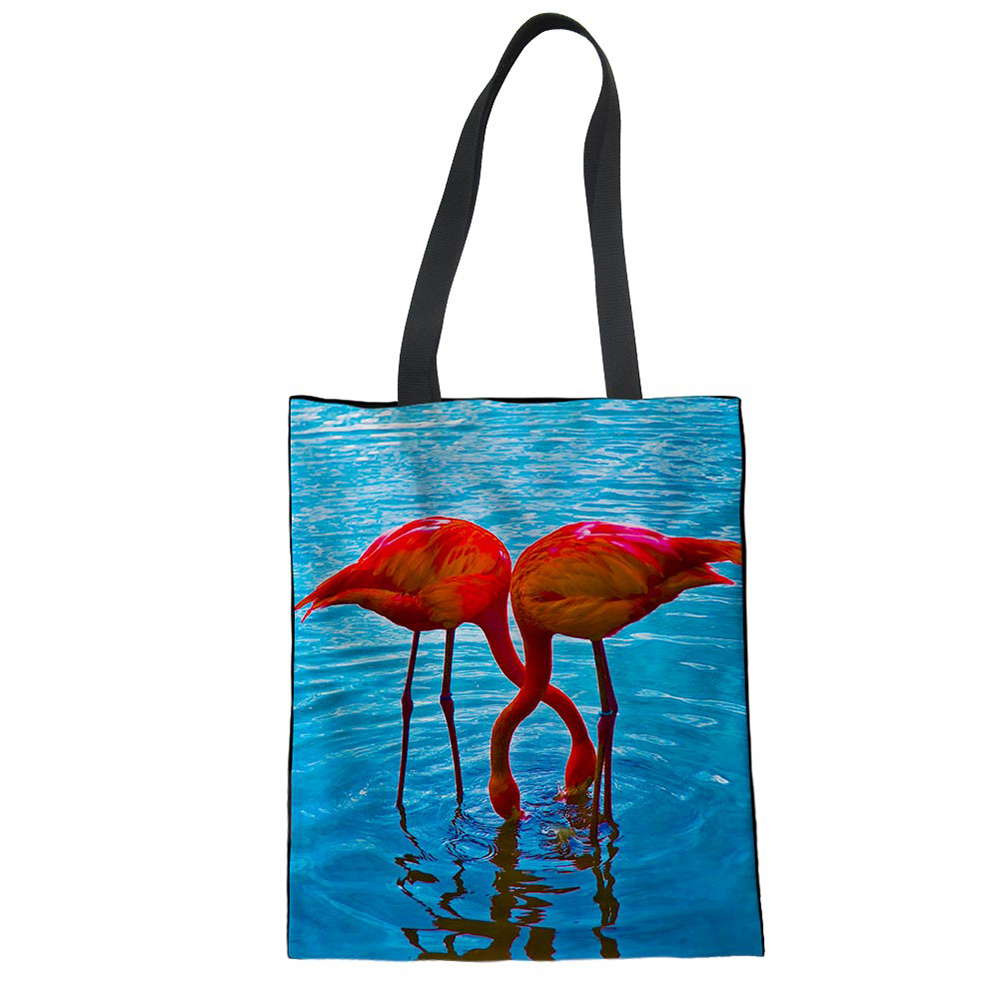 3D Flamingo Animal Pattern Printed Canvas Tote Shoulder Shopping Bag Teenager Girls Top-Handle Case Ladies Shoulder Mochilas