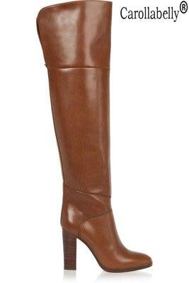 Женские ботфорты с круглым носком, коричневые теплые ботфорты на толстом высоком каблуке, большой размер, Осень зима 2019