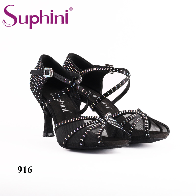 Free Shipping Suphini Comfotable Mesh insert Latin Dance Shoes Ladies Black Latin Woman Dance Shoes английская грамматика для начинающих
