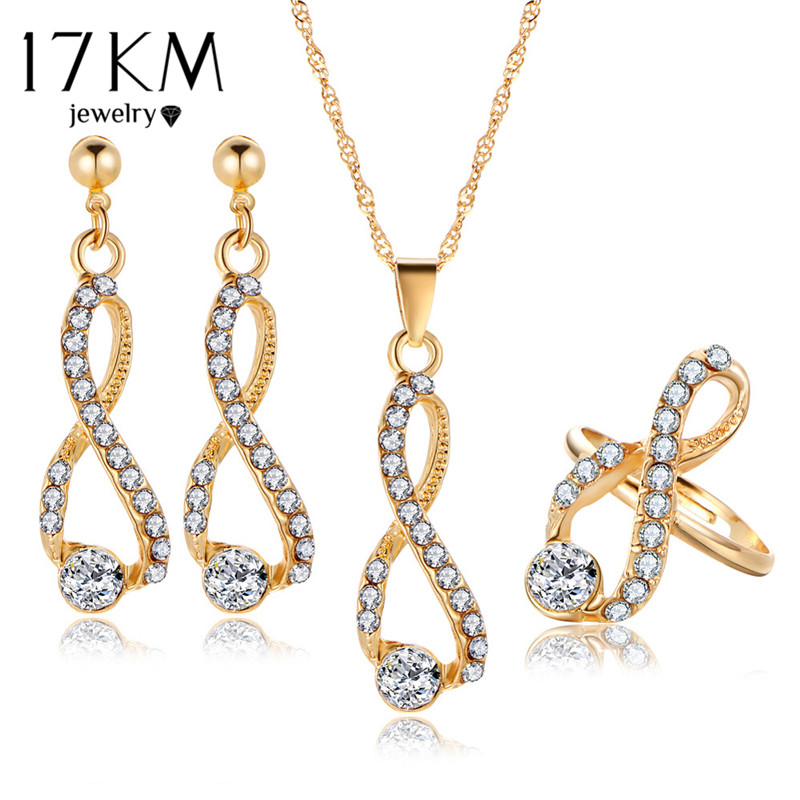 17 KM de Noiva Conjunto de Jóias De Cristal Longo Colar Infinito Brincos Cor do Ouro Anéis 2017 Simples Design de Jóias de Casamento Para A Mulher