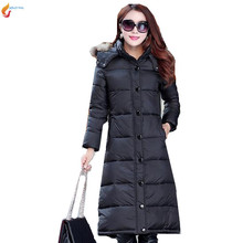 Medium long down jacket 2017 Latest Fashion Women Winter Hooded fur collar Super Keep warm Big
