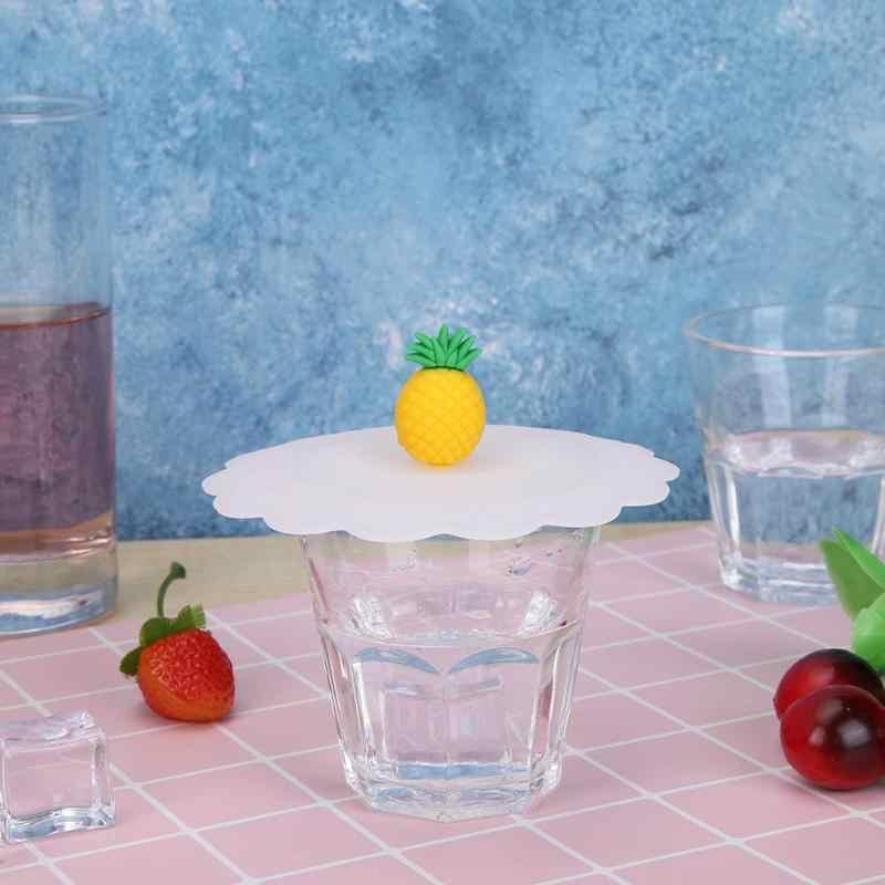 Buah-buahan Lucu Hewan Menghiasi Air Minum Cangkir Tutup Silikon Anti Debu Penutup Mangkuk Cangkir Merah Muda Babi Panda Segel Kaca mug Cap Universal