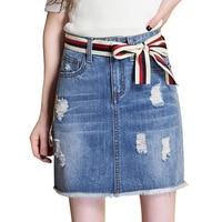 New Summer Ladies Lace Up Decorate Denim Skirts High Waist Tassel A Line Slim Mini Jeans