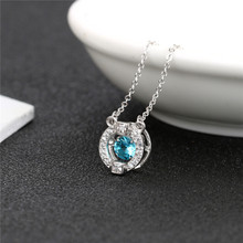 Hot selling 100% sterling silver 925 jewelry Quality AAA Cubic Zircon round stone  pendant necklace