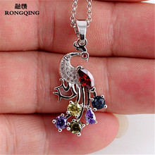 RONGQING Zircon Peacock Pendant Necklace CZ Stone Animal Short Necklace for Women Sister Gifts