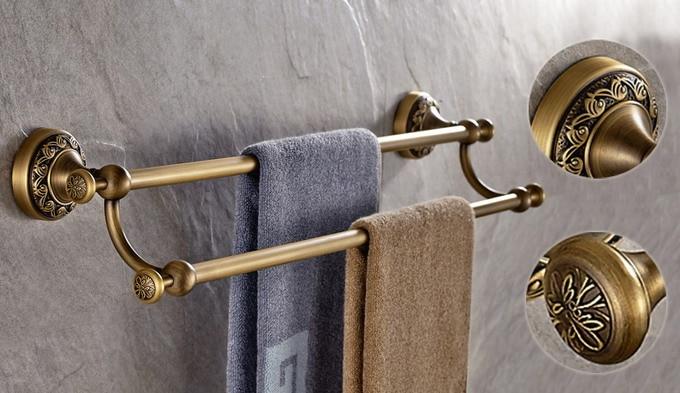 Wall Mount Antique Brass Bathroom Towel Bar Holder Double Towel Rail Towel Rack