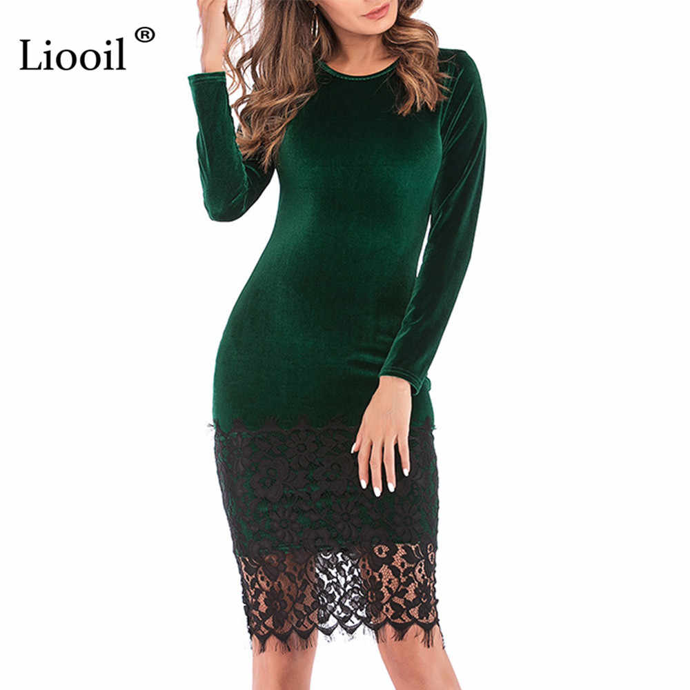 91191ce4db Liooil Black Lace Velvet Dress 2019 Spring Casual Womens Clothing Robe Sexy Wine  Red Green Female