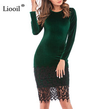 Liooil Black Lace Velvet Dress 2019 Spring Casual Womens Clothing Robe Sexy Wine Red Green Female Midi Bodycon Party Dresses