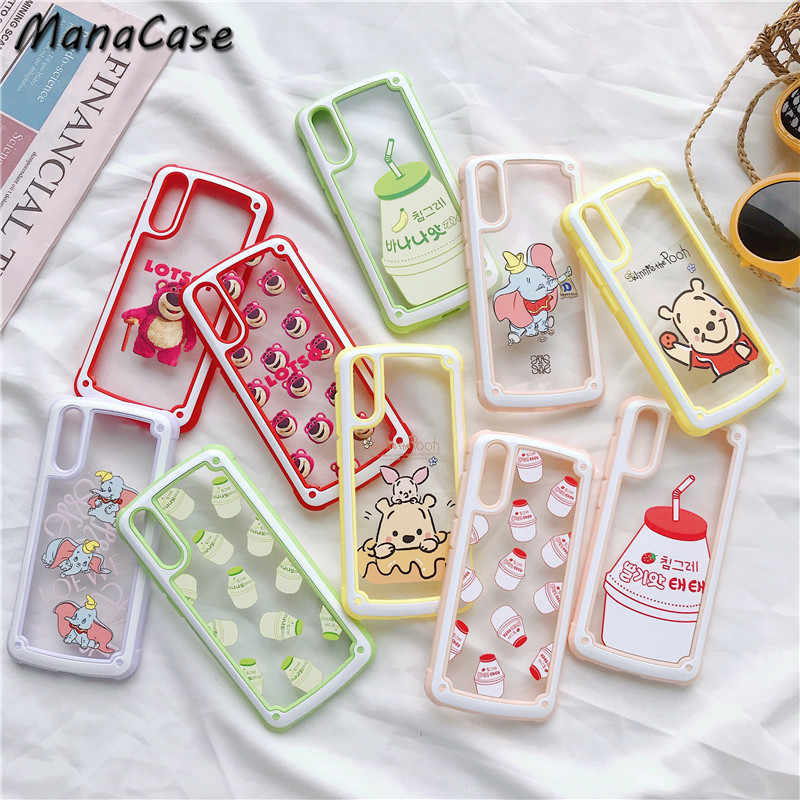 Cute Fashion Korean Style Strawberry Banana Milk Transparent Phone Case For Huawei P20 30 Pro Mate 20 Pro For iPhone Back Cover