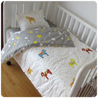 Baby Bedding Set 3Pcs For Crib Newborn Baby Bed Linens For Girl Boy Detachable Cot Sheet Quilt Pillow Including without Filling