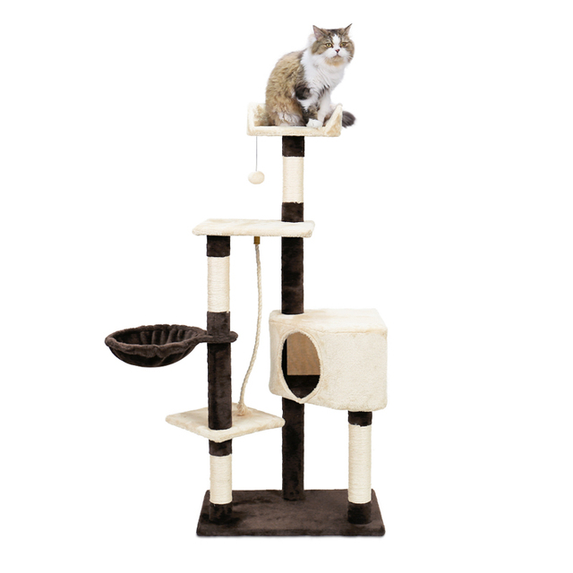 Cat Tree Furniture Big-size Cat Jumping Toy with Ladder Scratching Post Wood Climbing Frame Cat House With Hammock Cat Toy