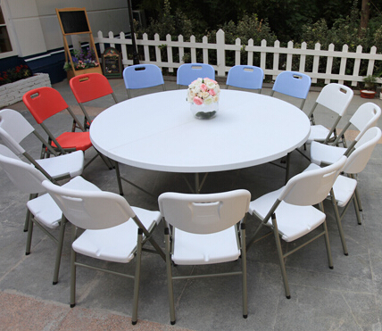 HDPE plastic folding dining table round for hotels restaurant home and outdoor 183D