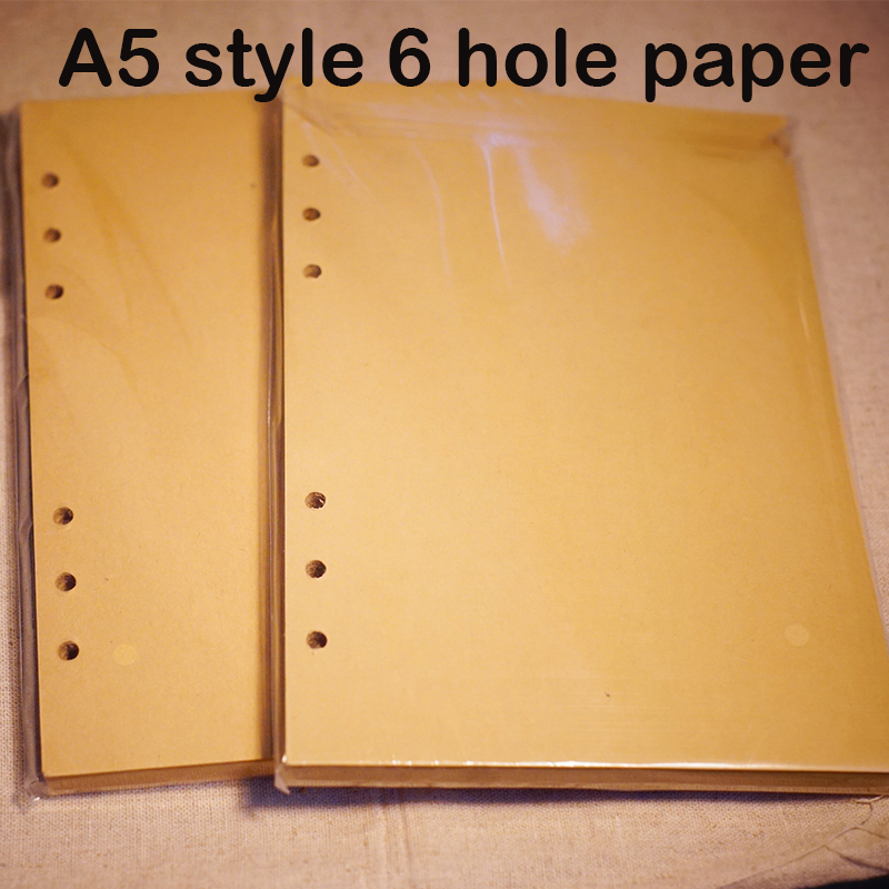 Standard A5 style leather notebook inside loose leaf page have 6 hole on page paper insde 60 pcs quality kraft blank page fastnet force 10 rei paper only page 4