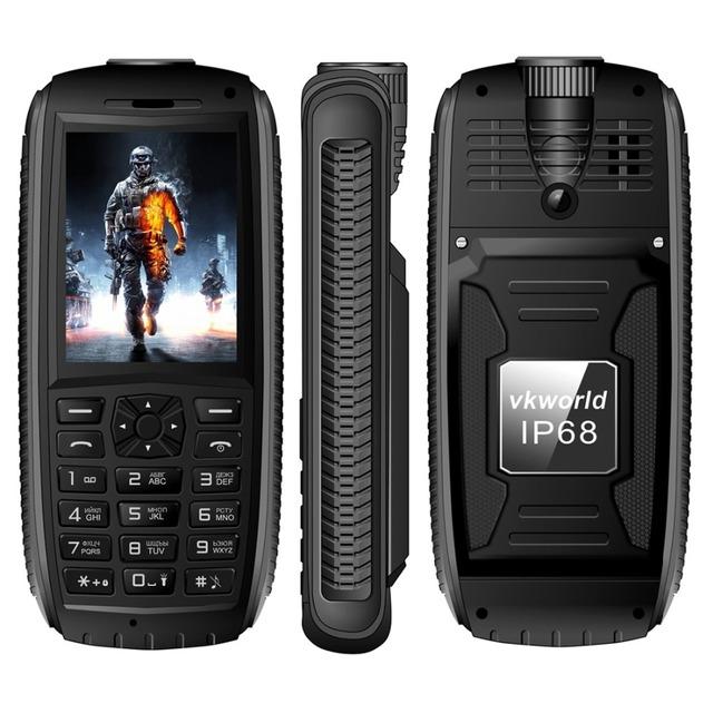 Original vkworld piedra v3 max sc6531 cuádruple teléfono móvil ram 64 mb ROM 64 MB 2.4 pulgadas Dual SIM Bluetooth FM Radio de La Antorcha 5300 mAh