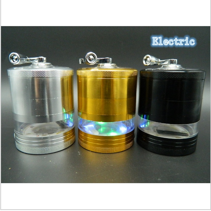 1 Pc 9*6.2 CM Electric Light Metal Weed Herb Grinder Herb Tobacco Crusher Spice Mill Cracker Pipe Tool hookah smoke