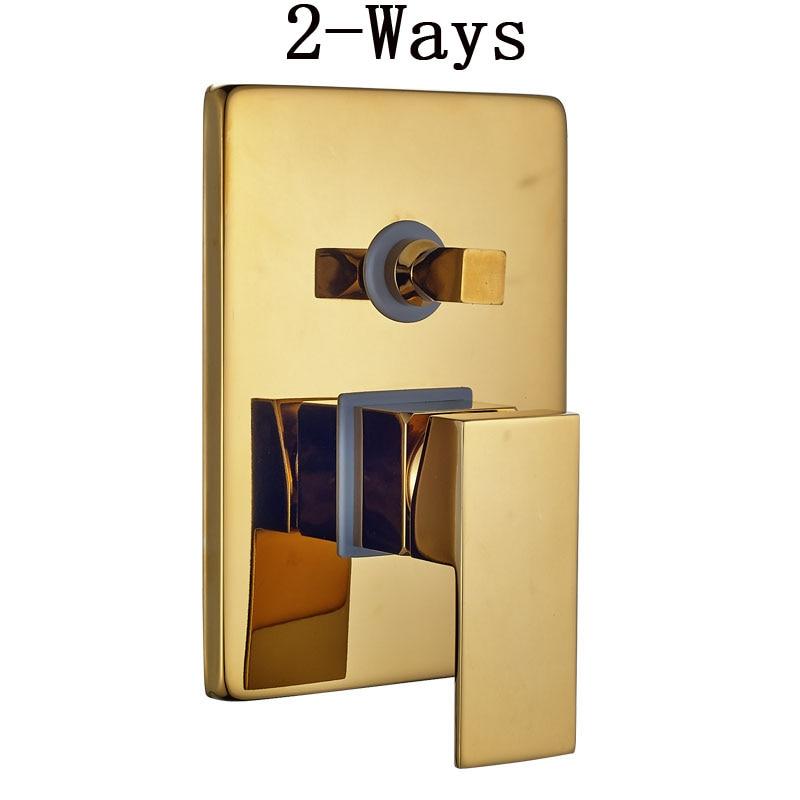 "Image 5 - Luxury 8/10/12"" Rainfall Golden Shower Faucet Set Wall Mount Single Handle Shower Mixer Tap Square Handshower Concealed Install-in Shower Faucets from Home Improvement"