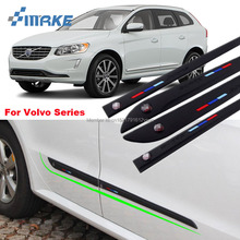 smRKE Body Side Door Rubber Decoration Strips Protector Bumper For Volvo XC60 XC90 S90 C70 S60 S60L V60 V40 S80L Series оплетка руля jika xc60 s80l s60 v60 v40 volvo xc90