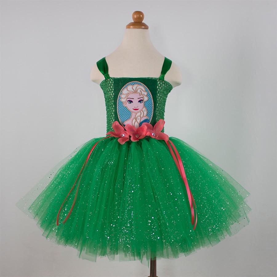 0d05012a52 verde Niños Niño de la Muchacha Elsa Anna Elsa Vestido Princesa Cosplay  Traje de Halloween de Los Bebés Del Tutú de Tul Vestido Vestidos Enfant Bata