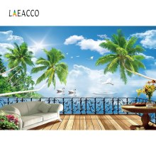 Laeacco Photography Backdrops Tropical Palm Tree Platform Sofa Sea Blue Sky Cloudy Photo Backgrounds Photocall For Studio