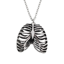 Vintage Silver Metal Skeleton Necklace Human Rib Cage Anatomy Statement Pendant Skull Jewelry Men and Women