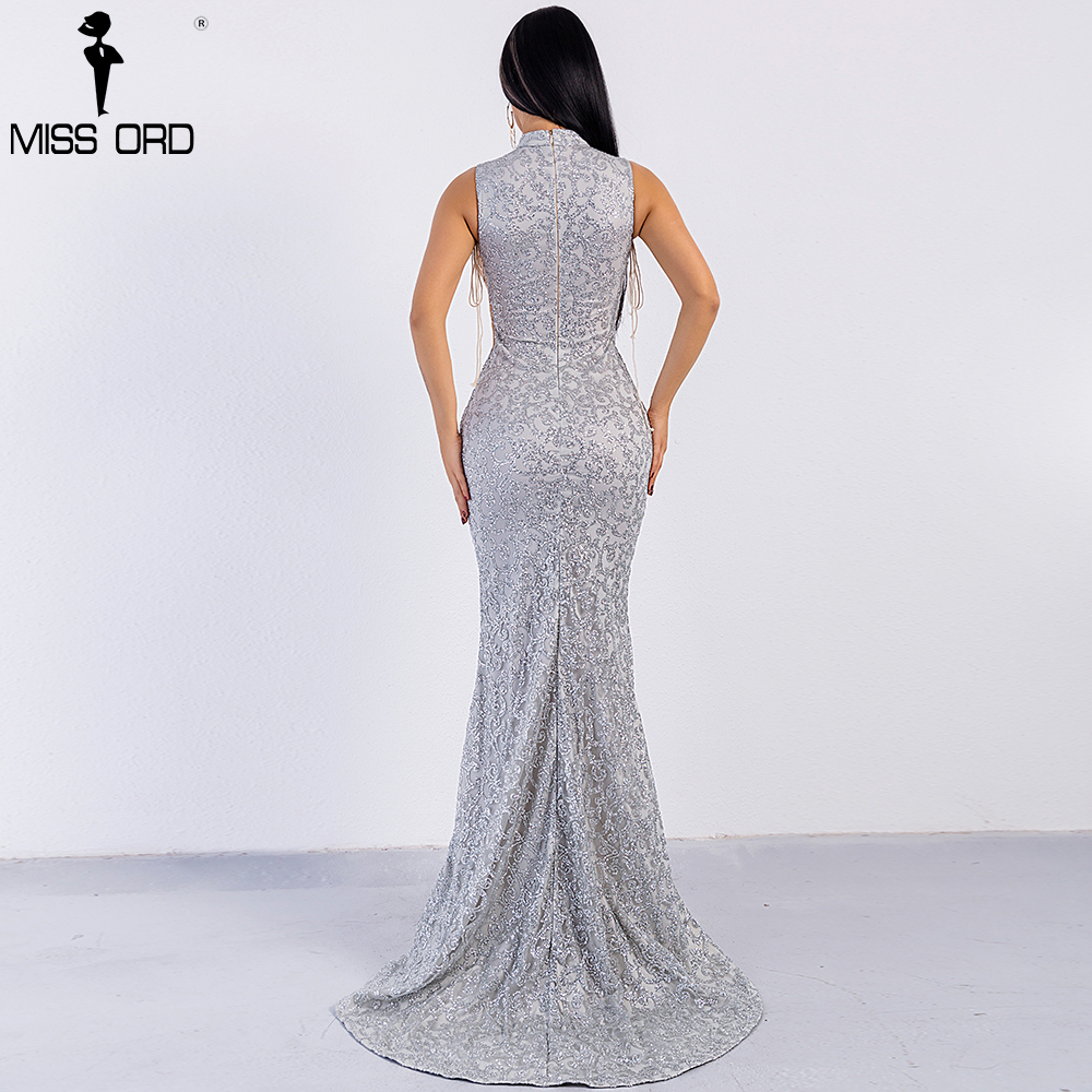 Missord 2018 Sexy High Neck Off Shoulder Glitter Geometric Bandage Dresses Women Maxi Elegant Dress FT8727-1